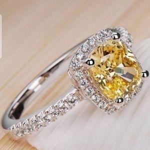 🆕LIST! White & Yellow Sapphire .925 SS Ring